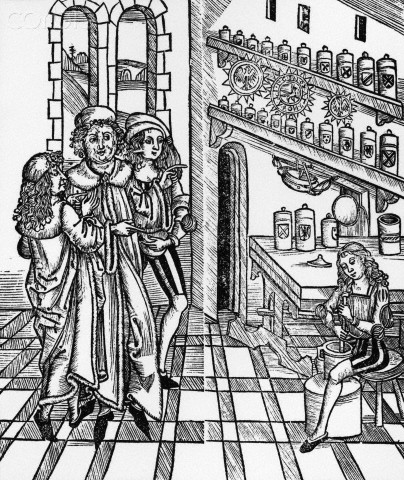 ca. 15th-16th century --- Woodcut Print of a Scene in a Medieval Apothecary Shop --- Image by © Stapleton Collection/Corbis